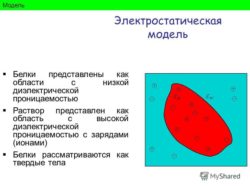Белки представлены как области с низкой диэлектрической проницаемостью Раствор представлен как область с высокой диэлектрической проницаемостью с зарядами (ионами) Белки рассматриваются как твердые тела Модель Электростатическая модель