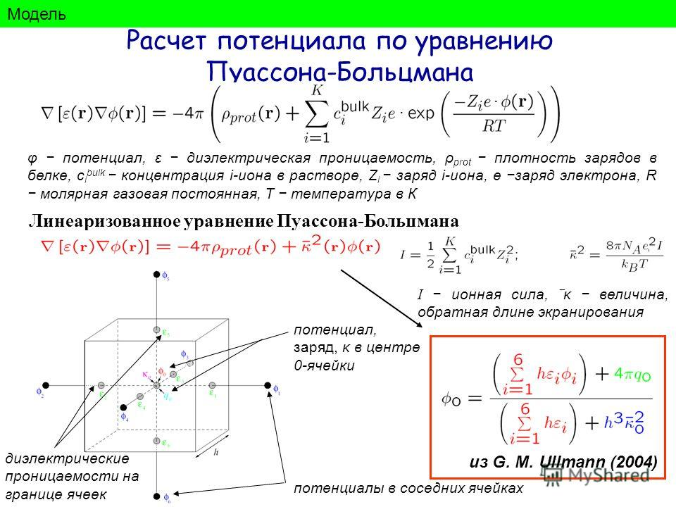 Расчет потенциала по уравнению Пуассона-Больцмана φ потенциал, ε диэлектрическая проницаемость, ρ prot плотность зарядов в белке, с i bulk концентрация i-иона в растворе, Z i заряд i-иона, e заряд электрона, R молярная газовая постоянная, T температу