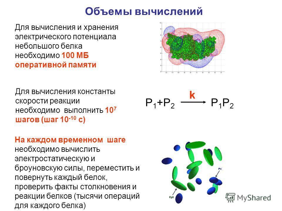 Для вычисления и хранения электрического потенциала небольшого белка необходимо 100 МБ оперативной памяти Для вычисления константы скорости реакции необходимо выполнить 10 7 шагов (шаг 10 -10 с) На каждом временном шаге необходимо вычислить электрост
