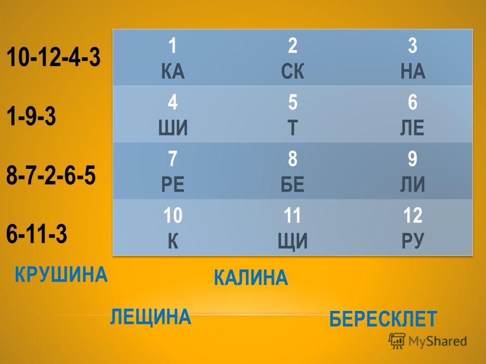 КРУШИНА 10-12-4-3 1-9-3 8-7-2-6-5 6-11-3 ЛЕЩИНА КАЛИНА БЕРЕСКЛЕТ