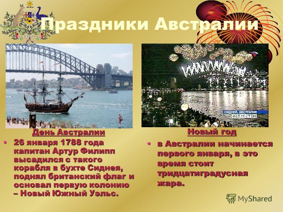 Праздники Австралии Новый год в Австралии начинается первого января, в это время стоит тридцатиградусная жара.в Австралии начинается первого января, в это время стоит тридцатиградусная жара. День Австралии 26 января 1788 года капитан Артур Филипп выс