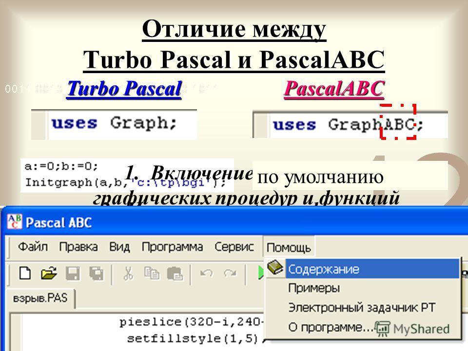 Отличие между Turbo Pascal и PascalАВС PascalАВС Turbo Pascal 1. Включение библиотеки графических процедур и функций 2. Инициализация графического ВИДЕОрежима по умолчанию 3. Закрытие графического ВИДЕОрежима по умолчанию 4. Графические процедуры и ф
