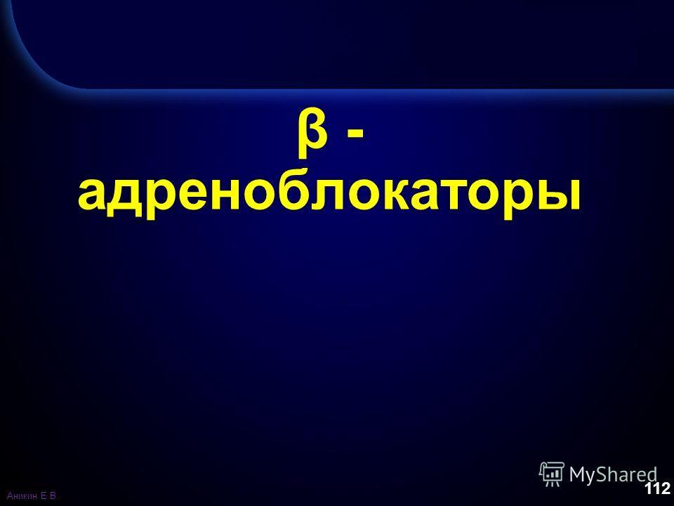112 β - адреноблокаторы Аникин Е.В.