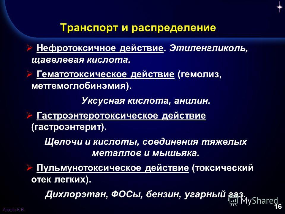 16 Транспорт и распределение Нефротоксичное действие. Этиленгликоль, щавелевая кислота. Гематотоксическое действие (гемолиз, метгемоглобинэмия). Уксусная кислота, анилин. Гастроэнтеротоксическое действие (гастроэнтерит). Щелочи и кислоты, соединения