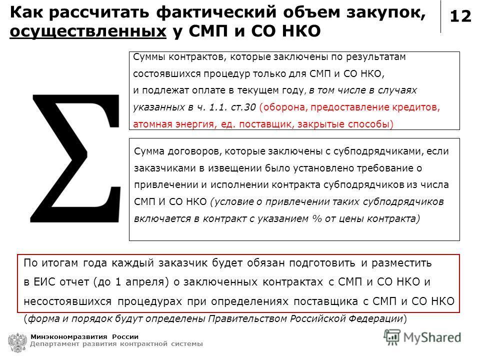 12 Как рассчитать фактический объем закупок, осуществленных у СМП и СО НКО Минэкономразвития России Департамент развития контрактной системы По итогам года каждый заказчик будет обязан подготовить и разместить в ЕИС отчет (до 1 апреля) о заключенных