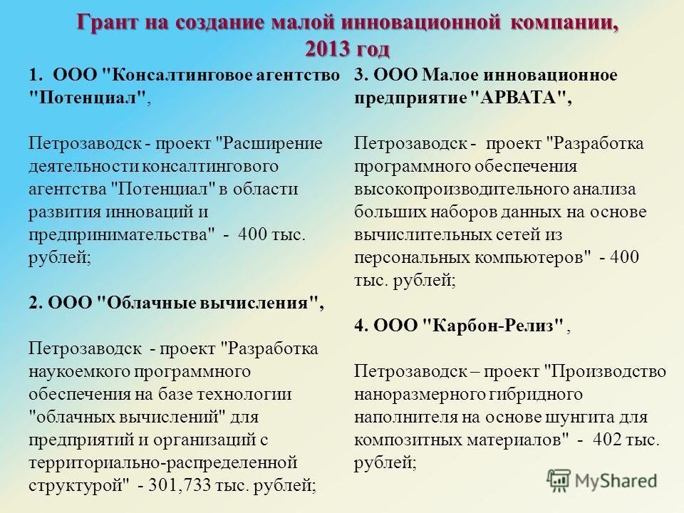 Грант на создание малой инновационной компании, 2013 год 1. ООО