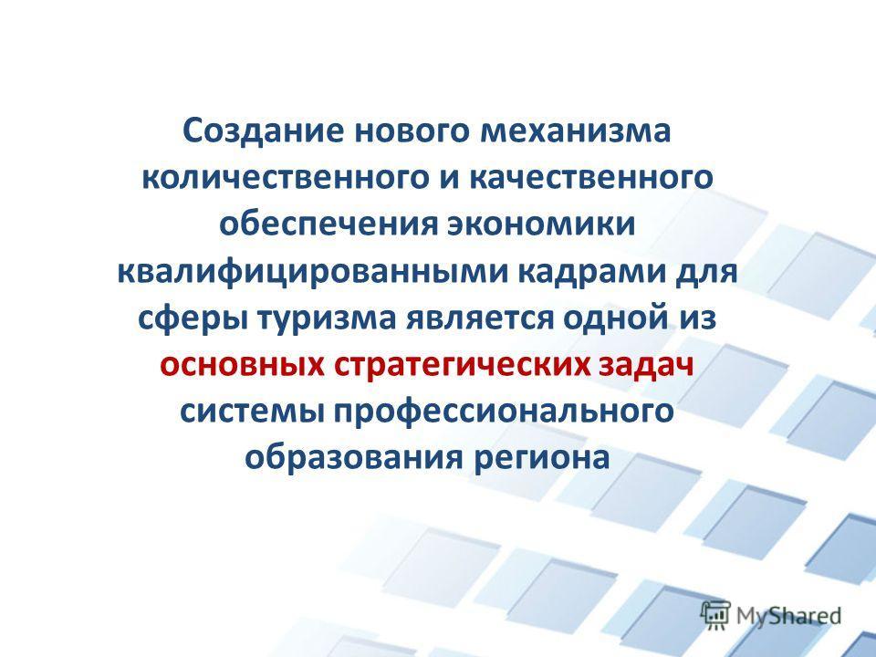 Создание нового механизма количественного и качественного обеспечения экономики квалифицированными кадрами для сферы туризма является одной из основных стратегических задач системы профессионального образования региона