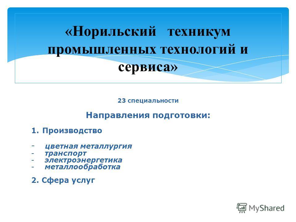 23 специальности Направления подготовки: 1. Производство - цветная металлургия - транспорт - электроэнергетика - металлообработка 2. Сфера услуг «Норильский техникум промышленных технологий и сервиса»