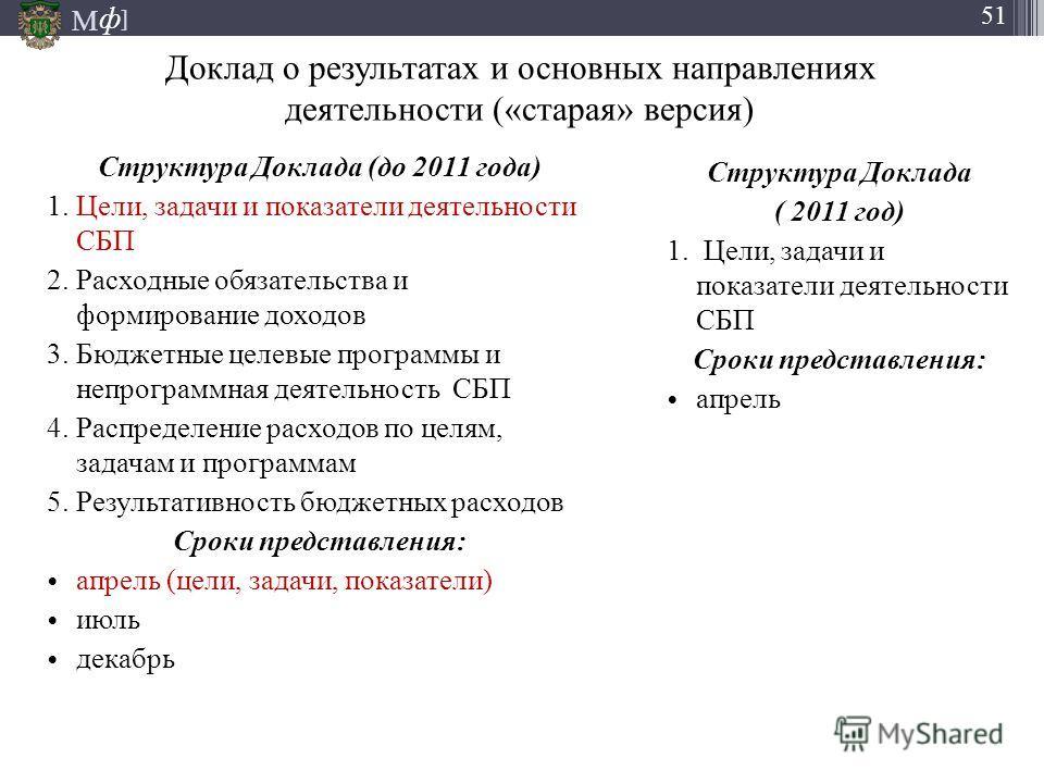 М ] ф 51 Доклад о результатах и основных направлениях деятельности («старая» версия) Структура Доклада (до 2011 года) 1. Цели, задачи и показатели деятельности СБП 2. Расходные обязательства и формирование доходов 3. Бюджетные целевые программы и неп