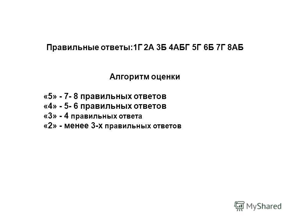 Правильные ответы:1Г 2А 3Б 4АБГ 5Г 6Б 7Г 8АБ Алгоритм оценки «5» - 7- 8 правильных ответов «4» - 5- 6 правильных ответов «3» - 4 правильных ответа «2» - менее 3-х правильных ответов