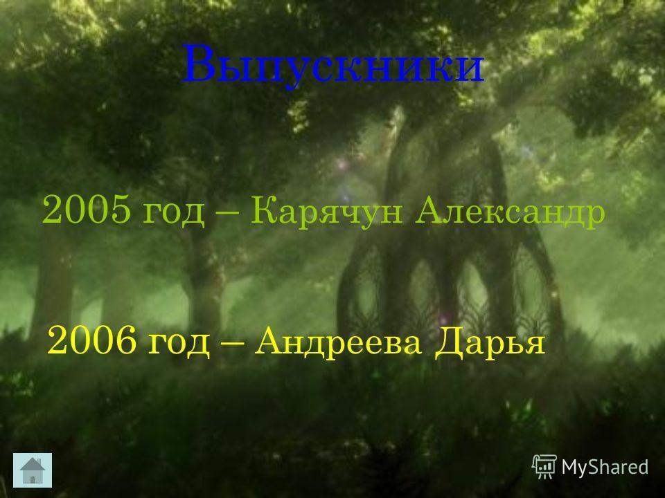 Выпускники 2005 год – Карячун Александр 2006 год – Андреева Дарья