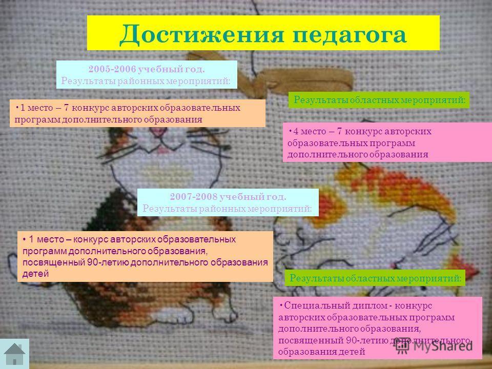 Достижения педагога 1 место – 7 конкурс авторских образовательных программ дополнительного образования Результаты областных мероприятий: 4 место – 7 конкурс авторских образовательных программ дополнительного образования 2005-2006 учебный год. Результ