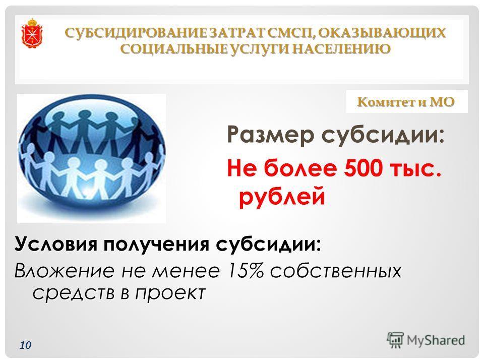 Размер субсидии: Не более 500 тыс. рублей Условия получения субсидии: Вложение не менее 15% собственных средств в проект СУБСИДИРОВАНИЕ ЗАТРАТ СМСП, ОКАЗЫВАЮЩИХ СОЦИАЛЬНЫЕ УСЛУГИ НАСЕЛЕНИЮ Комитет и МО 10