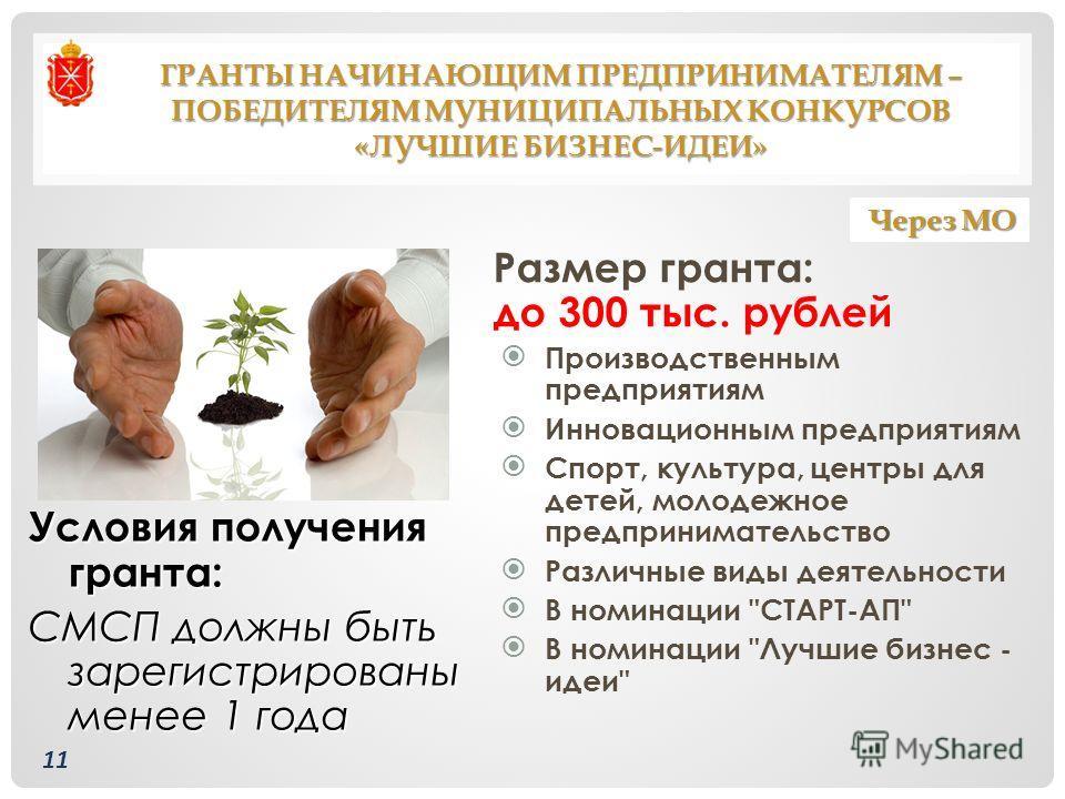 ГРАНТЫ НАЧИНАЮЩИМ ПРЕДПРИНИМАТЕЛЯМ – ПОБЕДИТЕЛЯМ МУНИЦИПАЛЬНЫХ КОНКУРСОВ «ЛУЧШИЕ БИЗНЕС-ИДЕИ» Размер гранта: до 300 тыс. рублей Производственным предприятиям Инновационным предприятиям Спорт, культура, центры для детей, молодежное предпринимательство