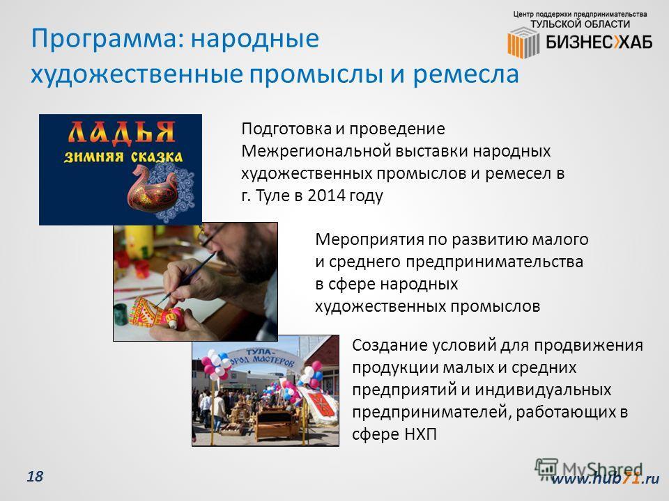www. hub71. ru 18 Программа: народные художественные промыслы и ремесла Мероприятия по развитию малого и среднего предпринимательства в сфере народных художественных промыслов Создание условий для продвижения продукции малых и средних предприятий и и