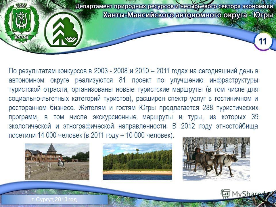 11 По результатам конкурсов в 2003 - 2008 и 2010 – 2011 годах на сегодняшний день в автономном округе реализуются 81 проект по улучшению инфраструктуры туристской отрасли, организованы новые туристские маршруты (в том числе для социально-льготных кат