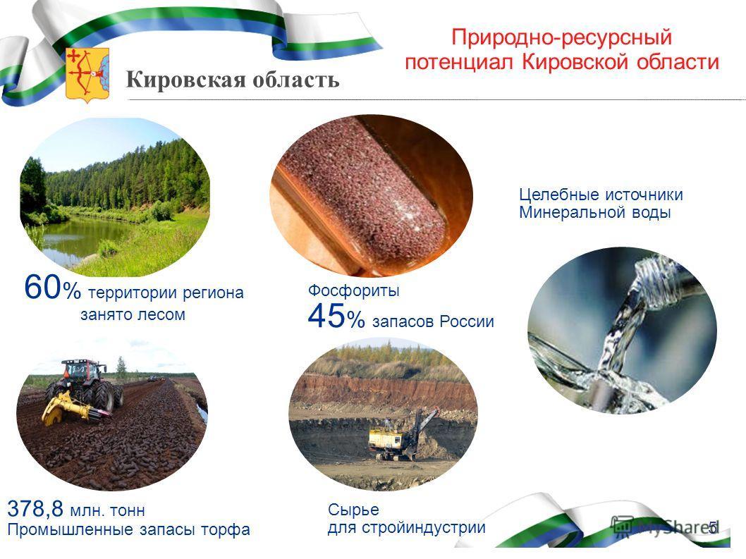 Кировская область Природно-ресурсный потенциал Кировской области 60 % территории региона занято лесом Фосфориты 45 % запасов России Сырье для стройиндустрии 378,8 млн. тонн Промышленные запасы торфа Целебные источники Минеральной воды 5