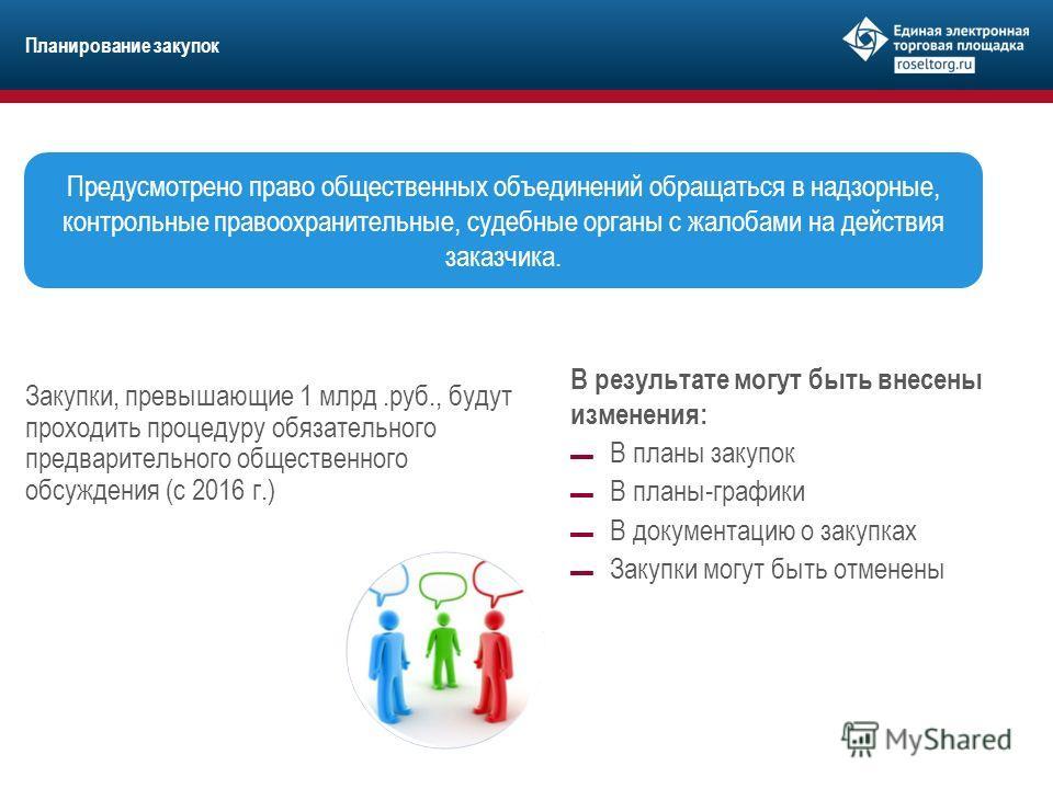 Планирование закупок Закупки, превышающие 1 млрд.руб., будут проходить процедуру обязательного предварительного общественного обсуждения (с 2016 г.) Предусмотрено право общественных объединений обращаться в надзорные, контрольные правоохранительные,