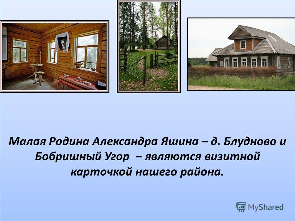 Малая Родина Александра Яшина – д. Блудново и Бобришный Угор – являются визитной карточкой нашего района.