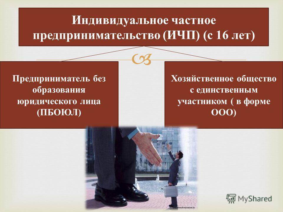 Индивидуальное частное предпринимательство (ИЧП) (с 16 лет) Предприниматель без образования юридического лица (ПБОЮЛ) Хозяйственное общество с единственным участником ( в форме ООО)
