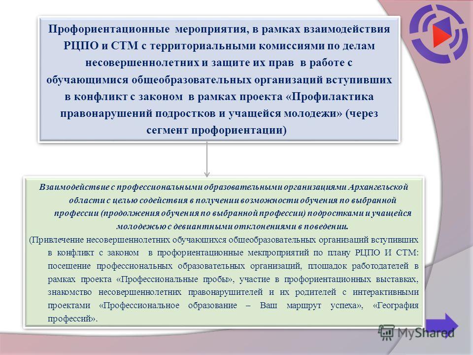 Взаимодействие с профессиональными образовательными организациями Архангельской области с целью содействия в получении возможности обучения по выбранной профессии (продолжения обучения по выбранной профессии) подростками и учащейся молодежью с девиан