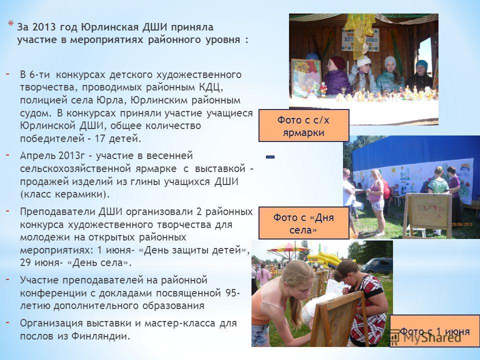 * За 2013 год Юрлинская ДШИ приняла участие в мероприятиях районного уровня : - В 6-ти конкурсах детского художественного творчества, проводимых районным КДЦ, полицией села Юрла, Юрлинским районным судом. В конкурсах приняли участие учащиеся Юрлинско