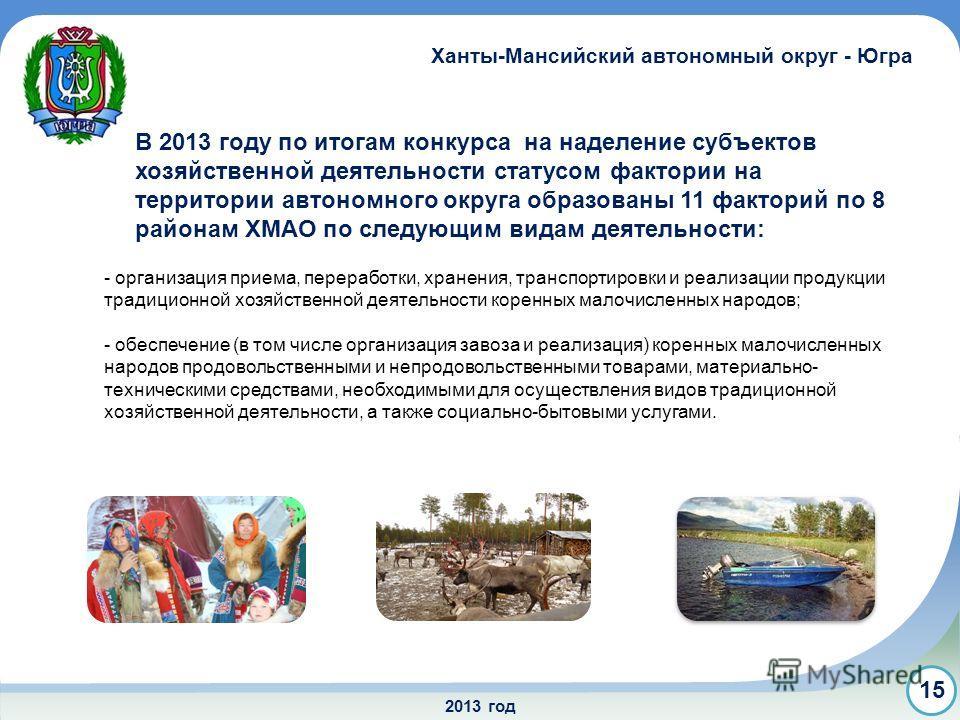 2013 год 15 Ханты-Мансийский автономный округ - Югра - организация приема, переработки, хранения, транспортировки и реализации продукции традиционной хозяйственной деятельности коренных малочисленных народов; - обеспечение (в том числе организация за