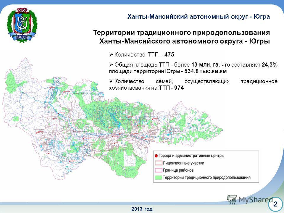 2013 год Территории традиционного природопользования Ханты-Мансийского автономного округа - Югры Ханты-Мансийский автономный округ - Югра 2 Количество ТТП - 475 Общая площадь ТТП - более 13 млн. га. что составляет 24,3% площади территории Югры - 534,