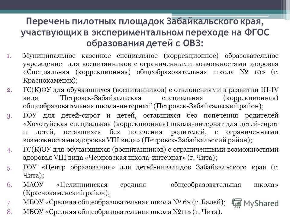 Перечень пилотных площадок Забайкальского края, участвующих в экспериментальном переходе на ФГОС образования детей с ОВЗ: 1. Муниципальное казенное специальное (коррекционное) образовательное учреждение для воспитанников с ограниченными возможностями