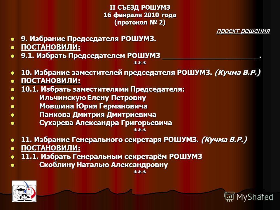 34 II СЪЕЗД РОШУМЗ 16 февраля 2010 года (протокол 2) проект решения 9. Избрание Председателя РОШУМЗ. 9. Избрание Председателя РОШУМЗ. ПОСТАНОВИЛИ: ПОСТАНОВИЛИ: 9.1. Избрать Председателем РОШУМЗ ______________________. 9.1. Избрать Председателем РОШУМ