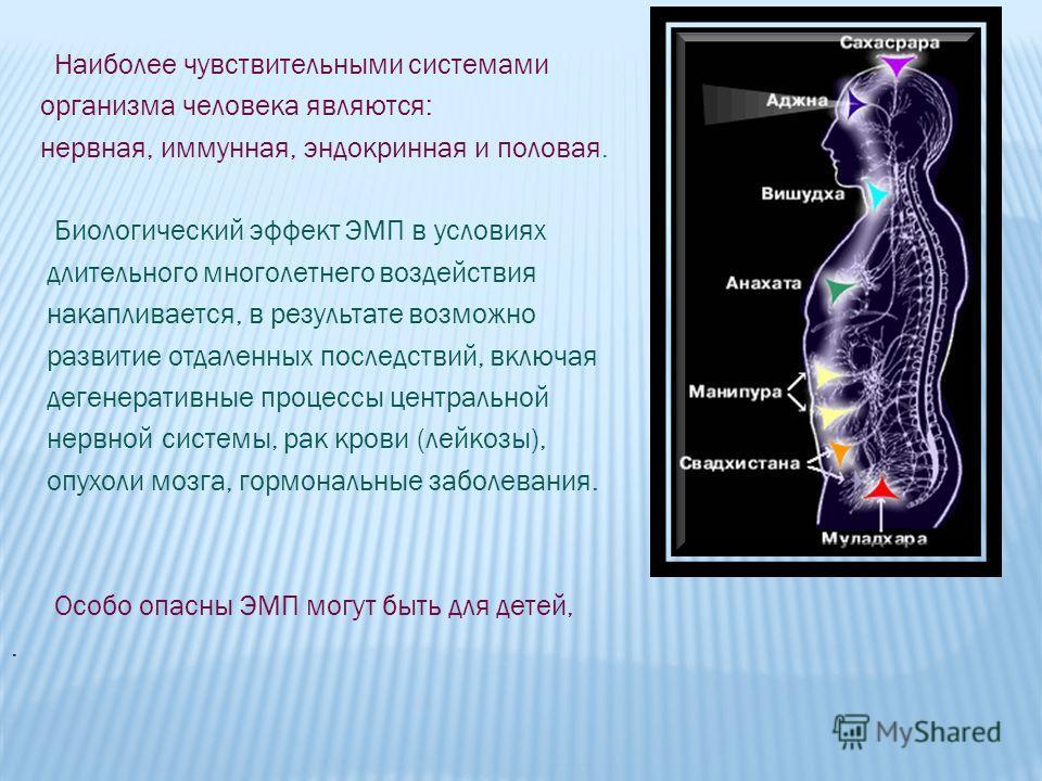 Наиболее чувствительными системами организма человека являются: нервная, иммунная, эндокринная и половая. Биологический эффект ЭМП в условиях длительного многолетнего воздействия накапливается, в результате возможно развитие отдаленных последствий, в