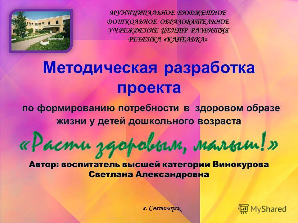 МУНИЦИПАЛЬНОЕ БЮДЖЕТНОЕ ДОШКОЛЬНОЕ ОБРАЗОВАТЕЛЬНОЕ УЧРЕЖДЕНИЕ ЦЕНТР РАЗВИТИЯ РЕБЕНКА «КАПЕЛЬКА» г. Светогорск