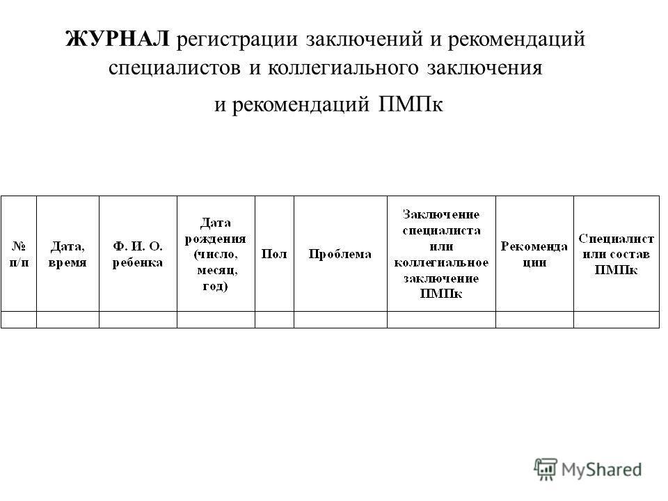 ЖУРНАЛ регистрации заключений и рекомендаций специалистов и коллегиального заключения и рекомендаций ПМПк