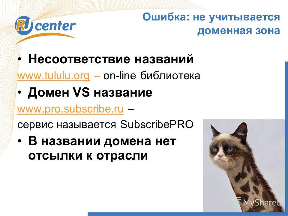 1 Ошибка: не учитывается доменная зона Несоответствие названий www.tululu.org – on-line библиотека Домен VS название www.pro.subscribe.ru – сервис называется SubscribePRO В названии домена нет отсылки к отрасли