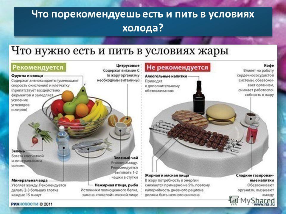 Что порекомендуешь есть и пить в условиях холода ?