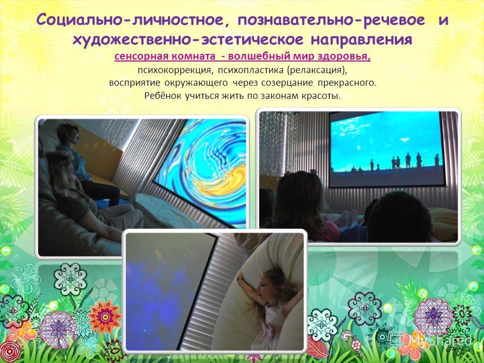 Социально-личностное, познавательно-речевое и художественно-эстетическое направления сенсорная комната - волшебный мир здоровья, психокоррекция, психопластика (релаксация), восприятие окружающего через созерцание прекрасного. Ребёнок учиться жить по