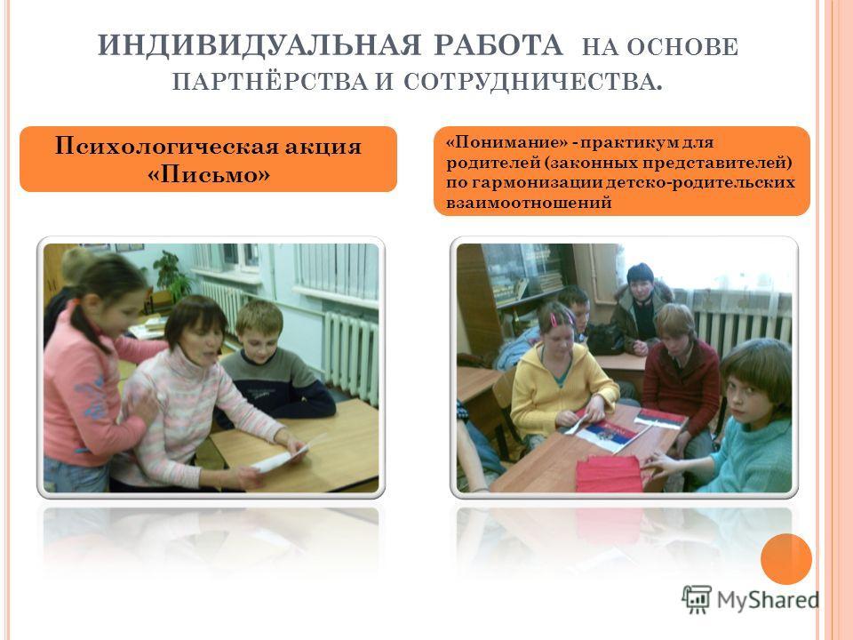 ИНДИВИДУАЛЬНАЯ РАБОТА НА ОСНОВЕ ПАРТНЁРСТВА И СОТРУДНИЧЕСТВА. Психологическая акция «Письмо» «Понимание» - практикум для родителей (законных представителей) по гармонизации детско-родительских взаимоотношений
