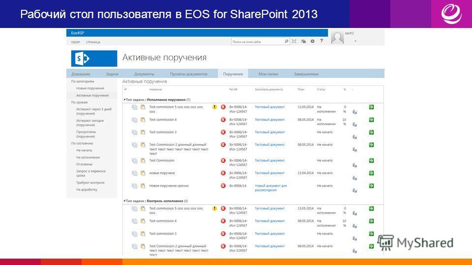 Рабочий стол пользователя в EOS for SharePoint 2013