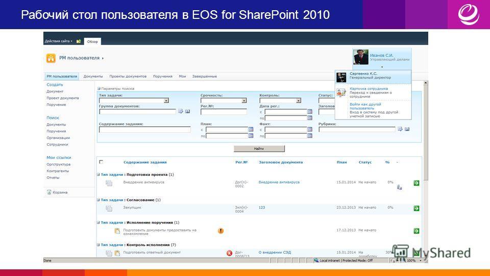 Рабочий стол пользователя в EOS for SharePoint 2010