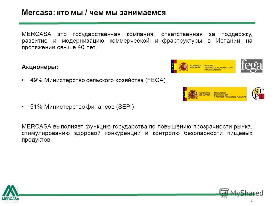 4 Mercasa: кто мы / чем мы занимаемся MERCASA это государственная компания, ответственная за поддержку, развитие и модернизацию коммерческой инфраструктуры в Испании на протяжении свыше 40 лет. Акционеры: 49% Министерство сельского хозяйства (FEGA) 5