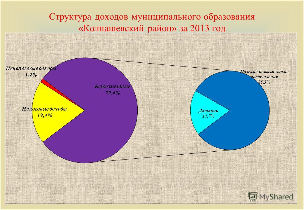 Структура доходов муниципального образования «Колпашевский район» за 2013 год