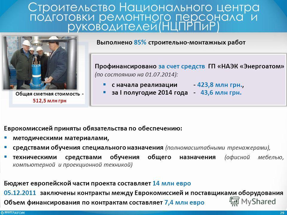 Профинансировано за счет средств ГП «НАЭК «Энергоатом» (по состоянию на 01.07.2014): с начала реализации- 423,8 млн грн., за I полугодие 2014 года- 43,6 млн грн. 29 Выполнено 85% строительно-монтажных работ Еврокомиссией приняты обязательства по обес