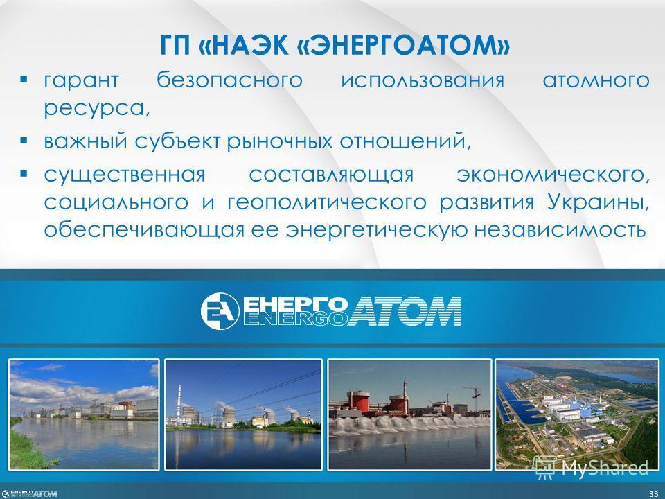 ГП «НАЭК «ЭНЕРГОАТОМ» гарант безопасного использования атомного ресурса, важный субъект рыночных отношений, существенная составляющая экономического, социального и геополитического развития Украины, обеспечивающая ее энергетическую независимость 33
