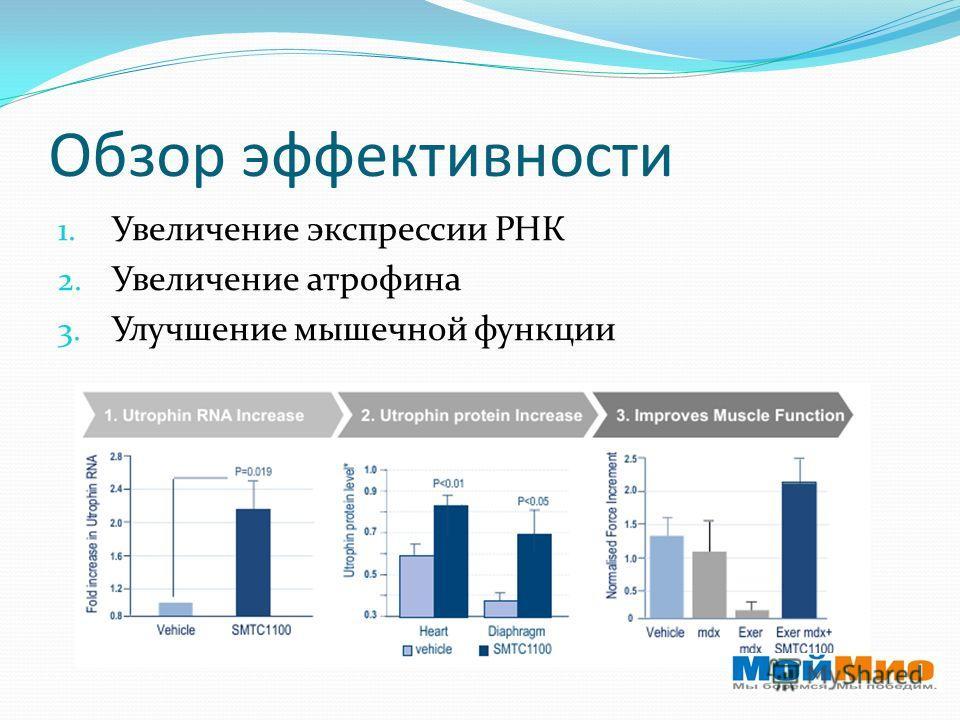 Обзор эффективности 1. Увеличение экспрессии РНК 2. Увеличение атрофина 3. Улучшение мышечной функции