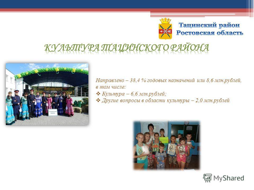 Направлено – 38,4 % годовых назначений или 8,6 млн.рублей, в том числе: Культура – 6,6 млн.рублей; Другие вопросы в области культуры – 2,0 млн.рублей