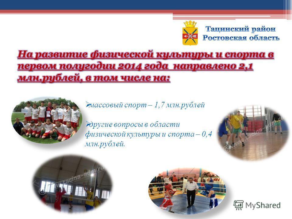 массовый спорт – 1,7 млн.рублей другие вопросы в области физической культуры и спорта – 0,4 млн.рублей.