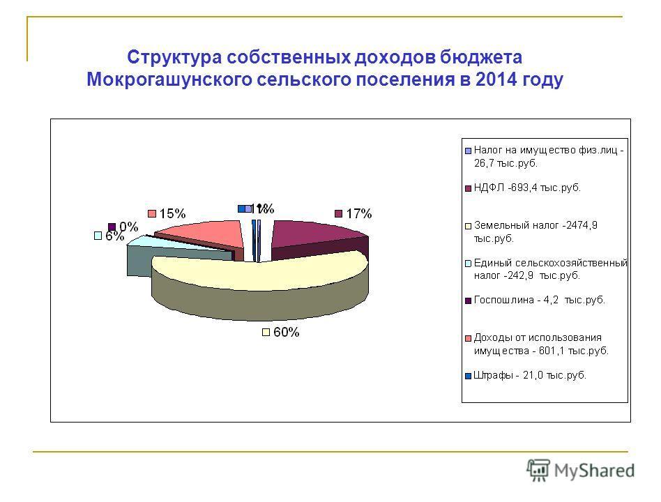 Структура собственных доходов бюджета Мокрогашунского сельского поселения в 2014 году