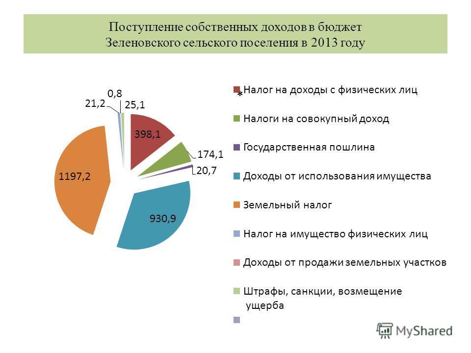 Поступление собственных доходов в бюджет Зеленовского сельского поселения в 2013 году