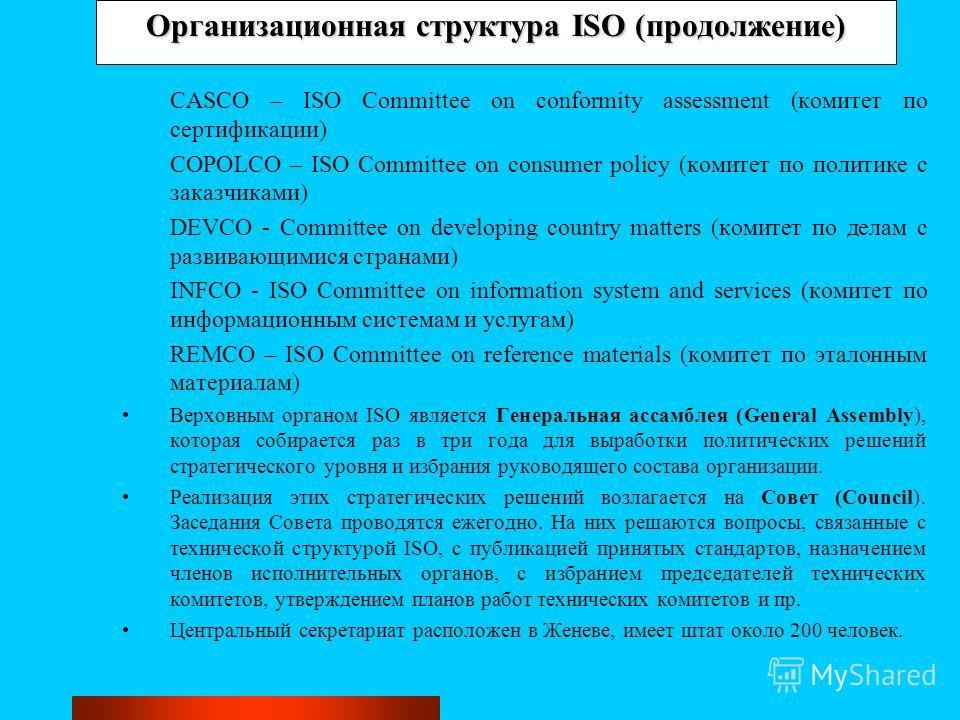 Организационная структура ISO (продолжение) CASCO – ISO Committee on conformity assessment (комитет по сертификации) COPOLCO – ISO Committee on consumer policy (комитет по политике с заказчиками) DEVCO - Committee on developing country matters (комит