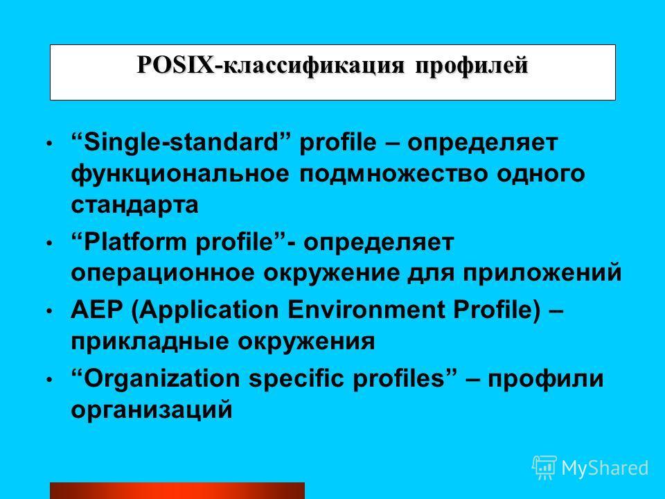 POSIX-классификация профилей Single-standard profile – определяет функциональное подмножество одного стандарта Platform profile- определяет операционное окружение для приложений AEP (Application Environment Profile) – прикладные окружения Organizatio